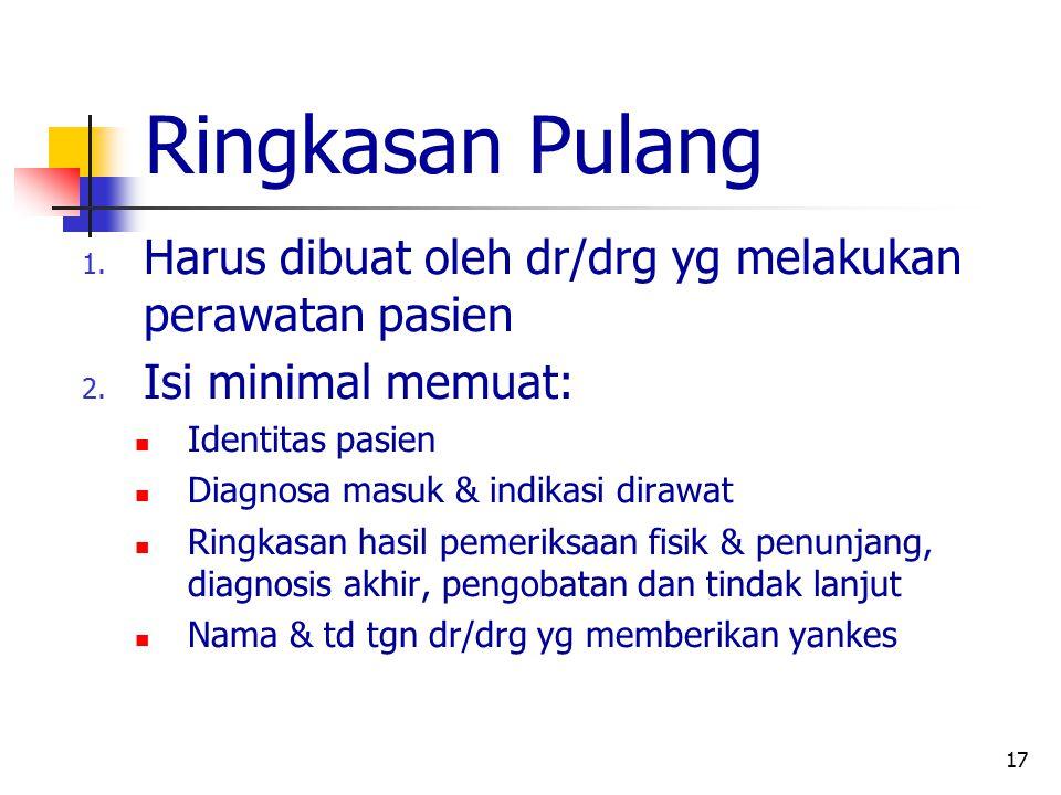 Ringkasan Pulang Harus dibuat oleh dr/drg yg melakukan perawatan pasien. Isi minimal memuat: Identitas pasien.