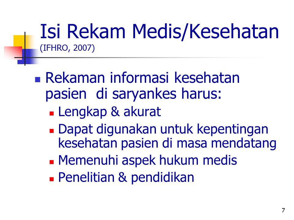 Isi Rekam Medis/Kesehatan (IFHRO, 2007)