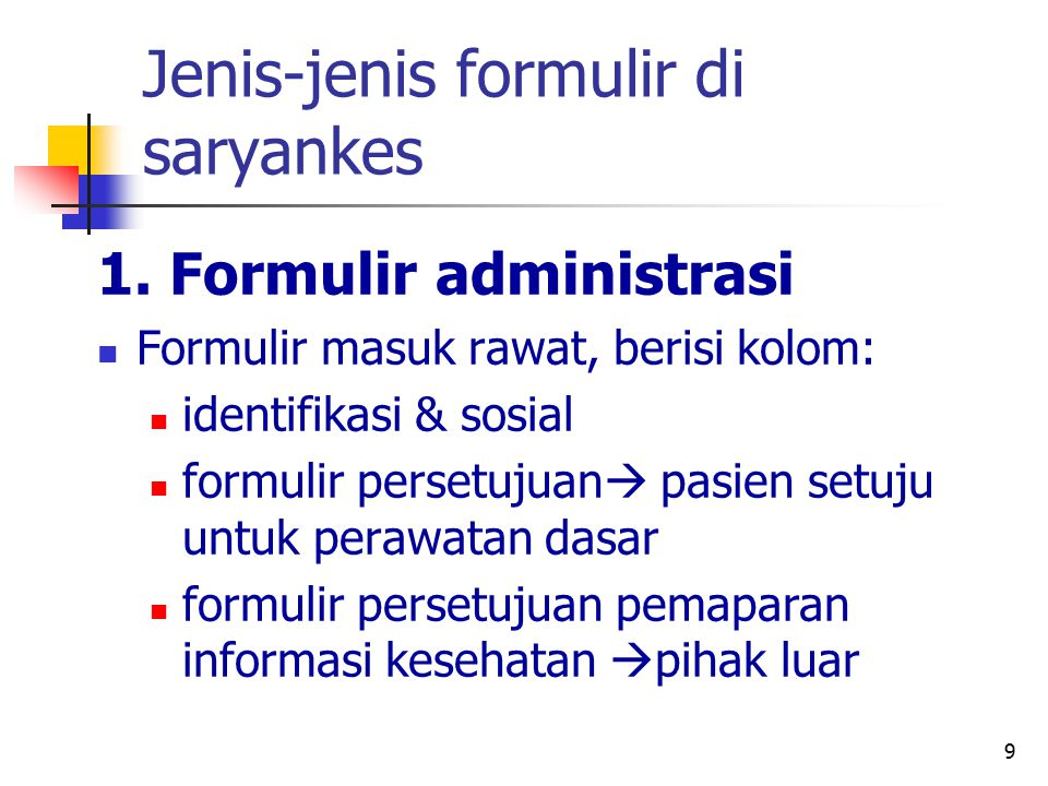 Jenis-jenis formulir di saryankes