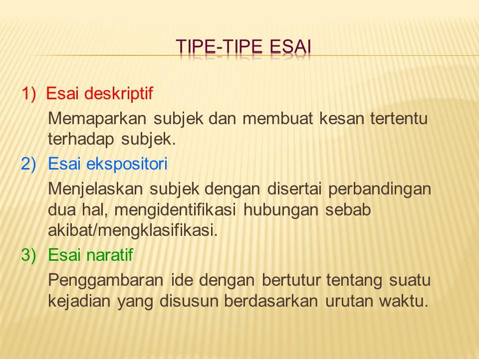 TIPE-TIPE ESAI 1) Esai deskriptif