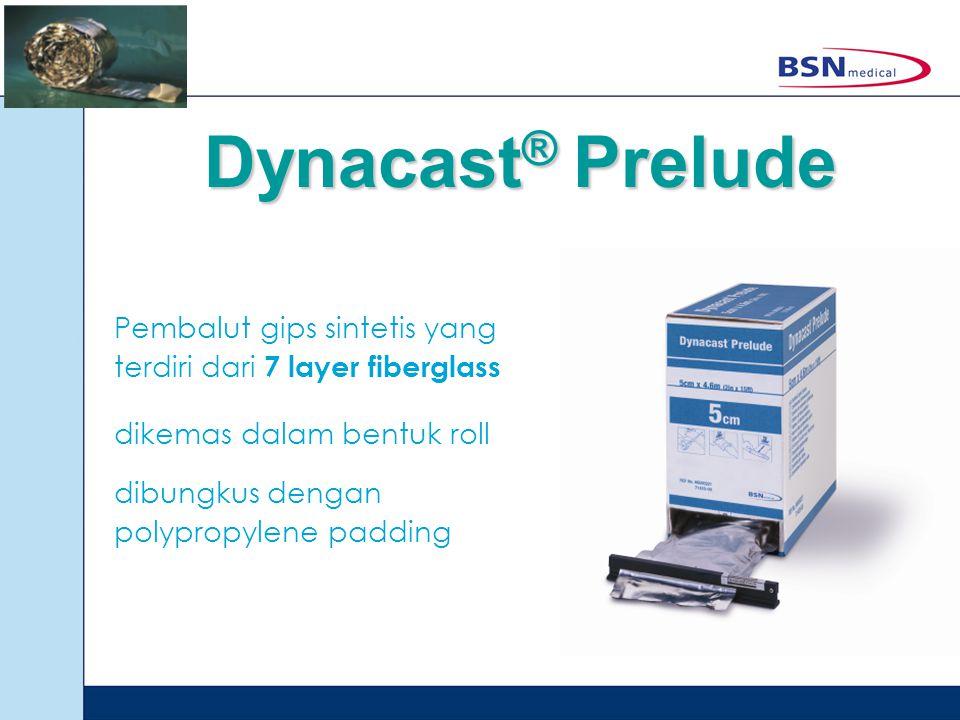 Dynacast® Prelude Pembalut gips sintetis yang terdiri dari 7 layer fiberglass. dikemas dalam bentuk roll.