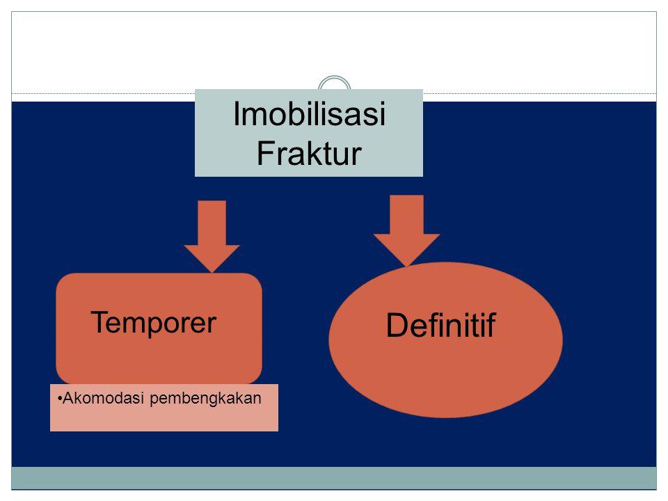 Imobilisasi Fraktur Temporer Definitif Akomodasi pembengkakan