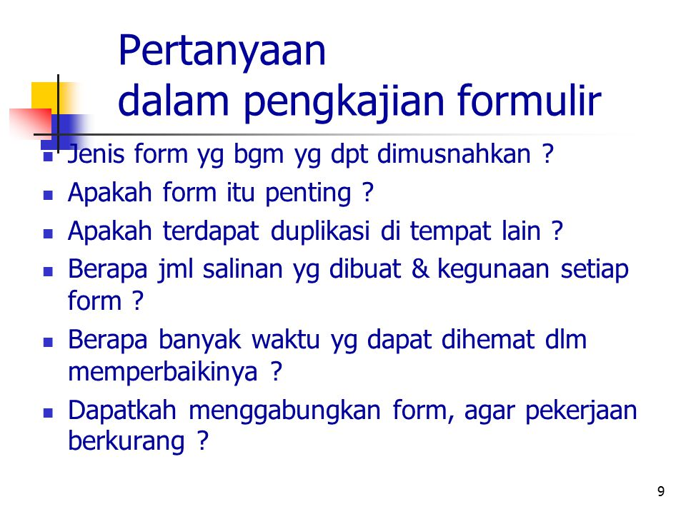 Pertanyaan dalam pengkajian formulir