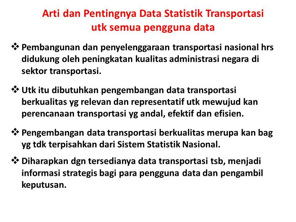 Arti dan Pentingnya Data Statistik Transportasi utk semua pengguna data