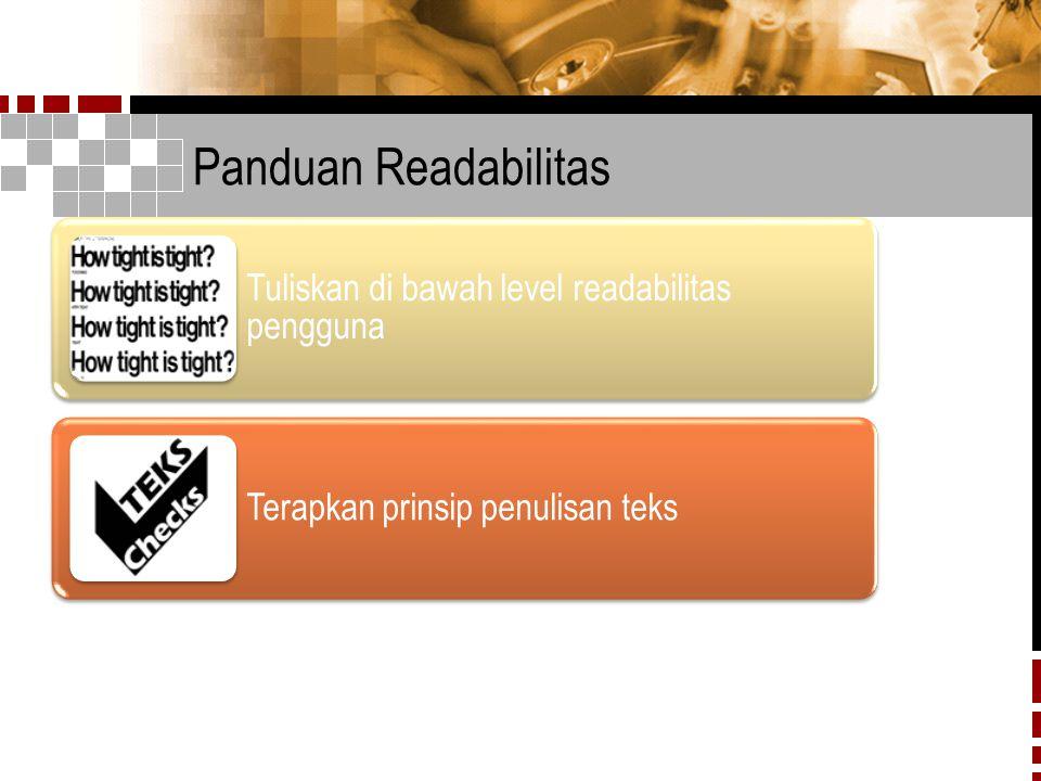 Panduan Readabilitas Tuliskan di bawah level readabilitas pengguna