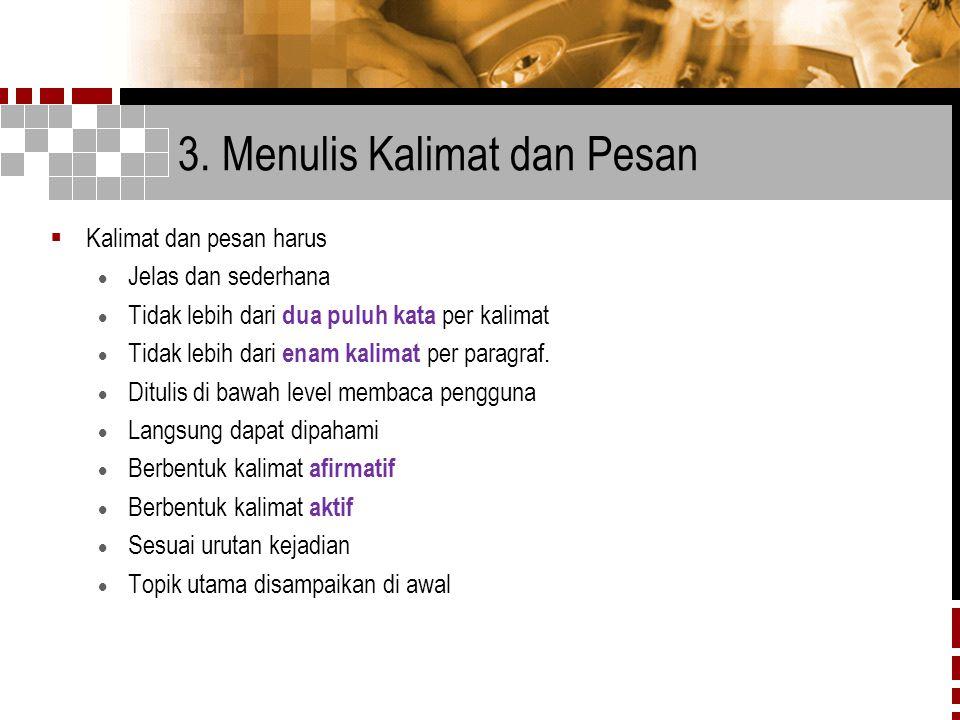 3. Menulis Kalimat dan Pesan