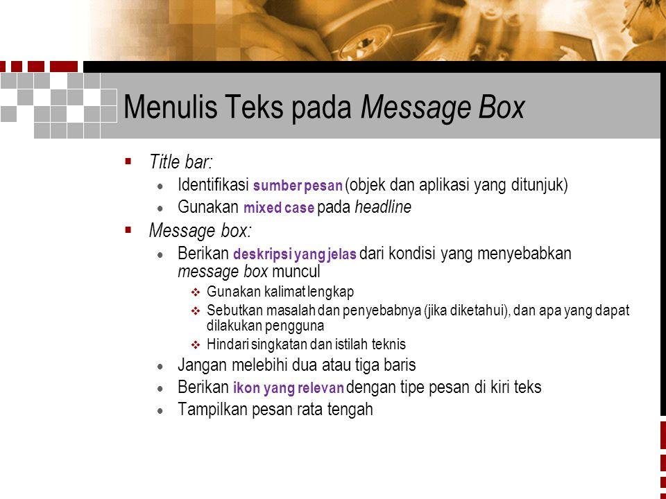 Menulis Teks pada Message Box