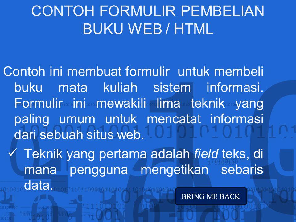 CONTOH FORMULIR PEMBELIAN BUKU WEB / HTML
