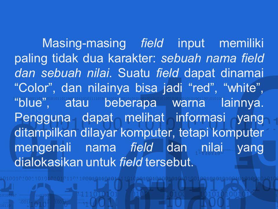 Masing-masing field input memiliki paling tidak dua karakter: sebuah nama field dan sebuah nilai.