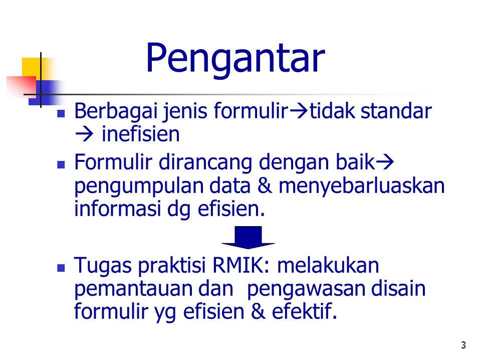 Pengantar Berbagai jenis formulirtidak standar  inefisien