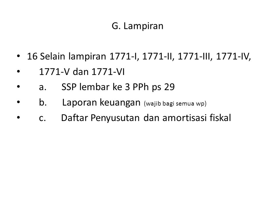 G. Lampiran 16 Selain lampiran 1771-I, 1771-II, 1771-III, 1771-IV, 1771-V dan 1771-VI. a. SSP lembar ke 3 PPh ps 29.