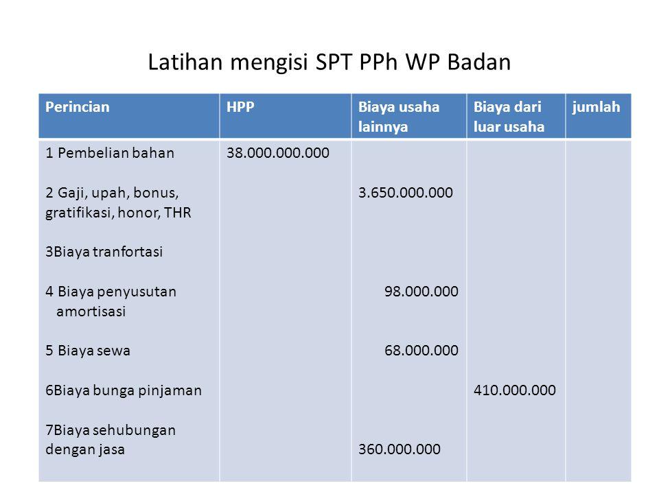 Latihan mengisi SPT PPh WP Badan