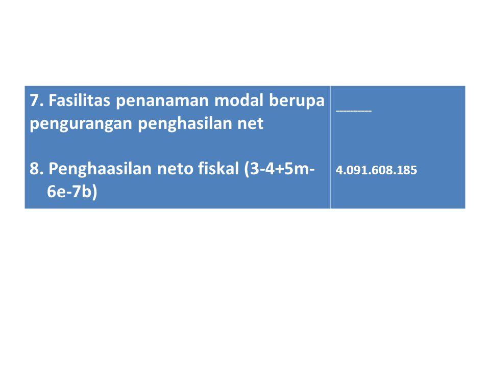 7. Fasilitas penanaman modal berupa pengurangan penghasilan net