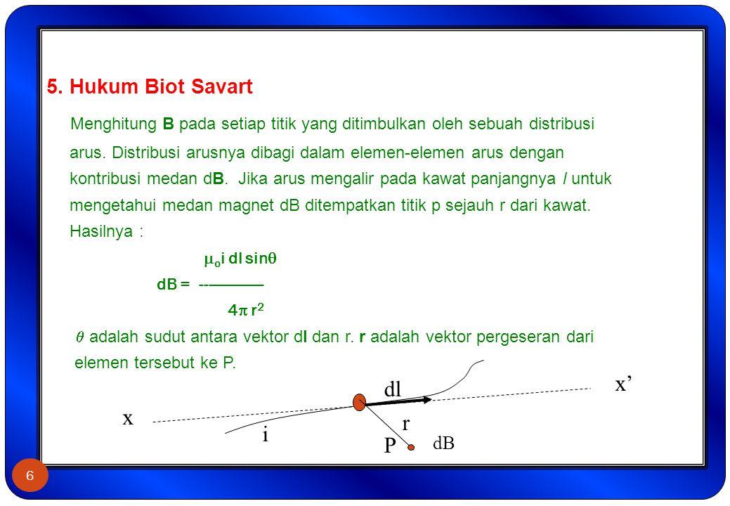 5. Hukum Biot Savart Menghitung B pada setiap titik yang ditimbulkan oleh sebuah distribusi arus. Distribusi arusnya dibagi dalam elemen-elemen arus dengan kontribusi medan dB. Jika arus mengalir pada kawat panjangnya l untuk mengetahui medan magnet dB ditempatkan titik p sejauh r dari kawat. Hasilnya : oi dl sin dB = --------------- 4 r2  adalah sudut antara vektor dl dan r. r adalah vektor pergeseran dari elemen tersebut ke P.