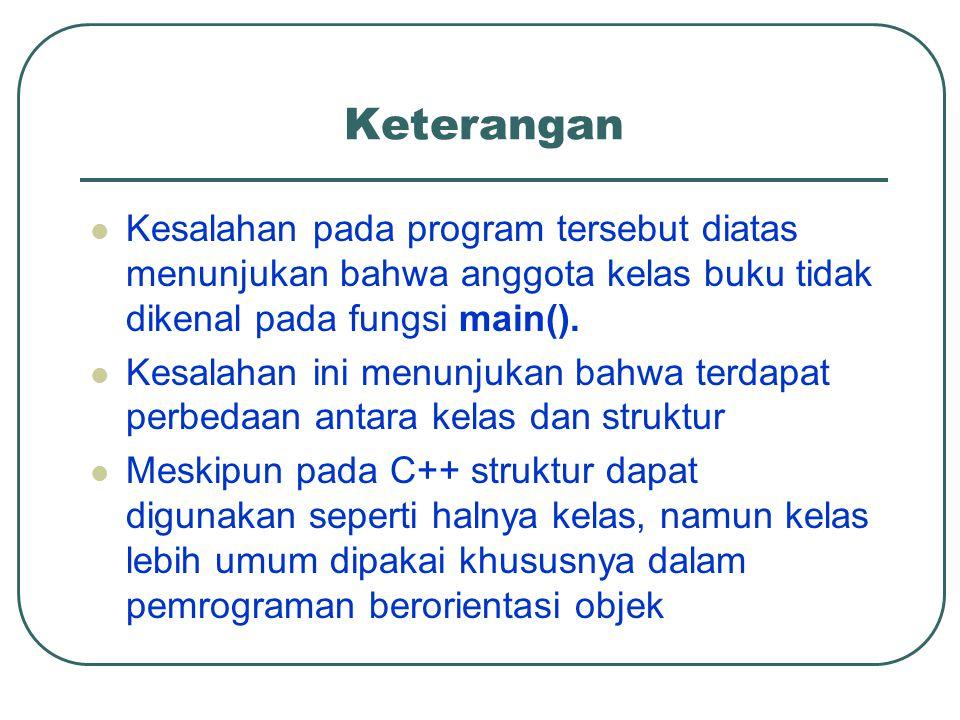 Keterangan Kesalahan pada program tersebut diatas menunjukan bahwa anggota kelas buku tidak dikenal pada fungsi main().