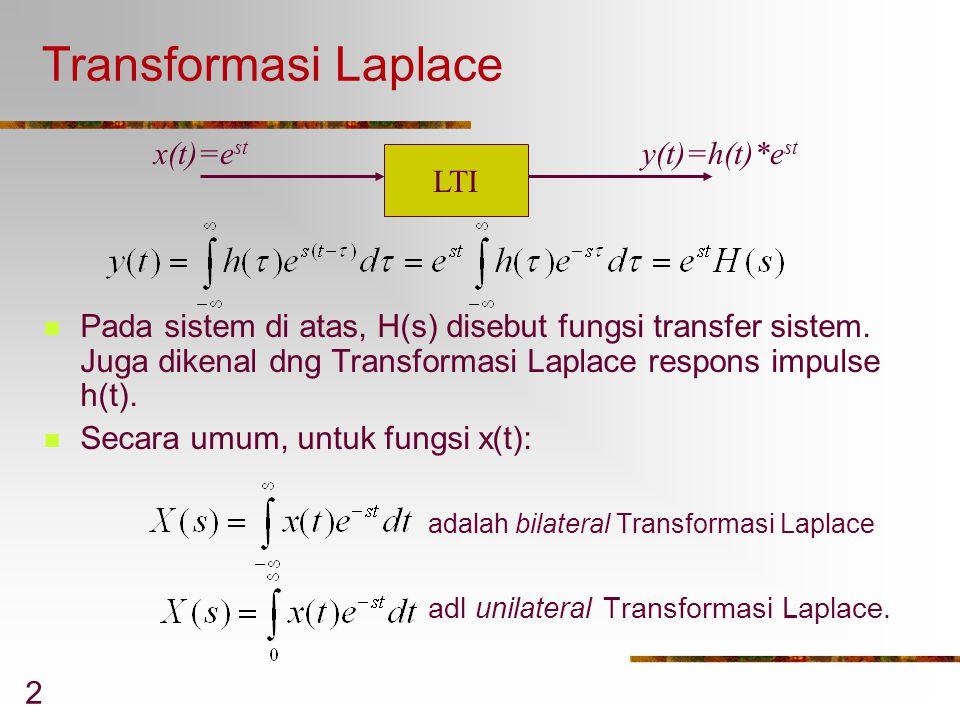 Transformasi Laplace x(t)=est y(t)=h(t)*est