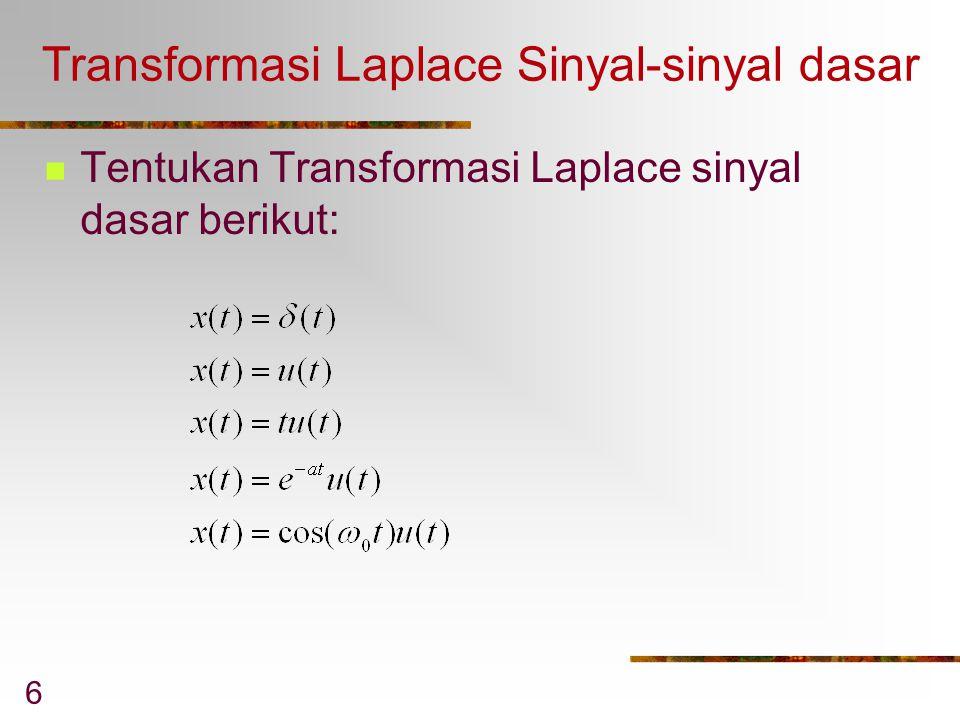 Transformasi Laplace Sinyal-sinyal dasar
