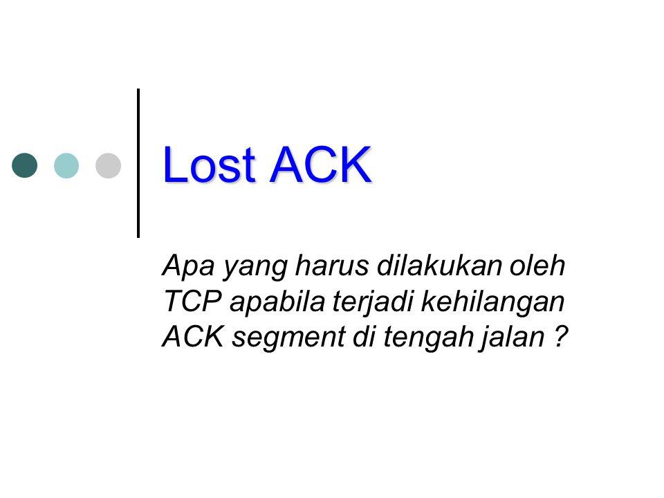 Lost ACK Apa yang harus dilakukan oleh TCP apabila terjadi kehilangan ACK segment di tengah jalan
