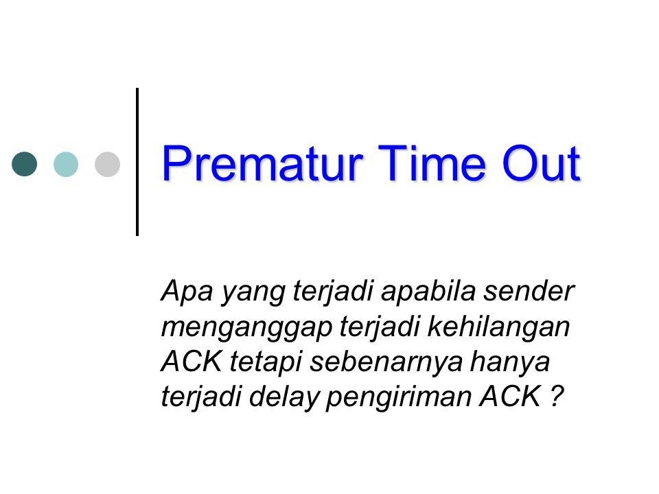 Prematur Time Out Apa yang terjadi apabila sender menganggap terjadi kehilangan ACK tetapi sebenarnya hanya terjadi delay pengiriman ACK