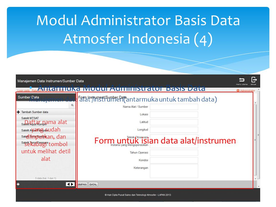 Modul Administrator Basis Data Atmosfer Indonesia (5)