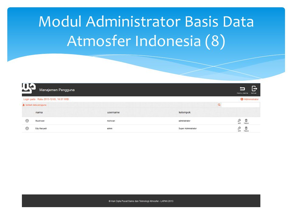 Modul Administrator Basis Data Atmosfer Indonesia (9)