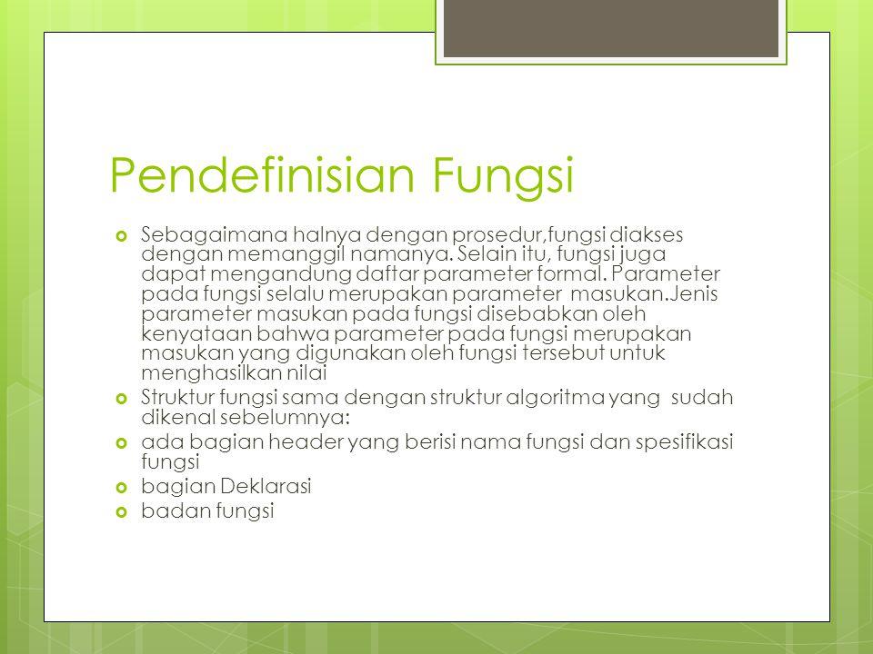 Pendefinisian Fungsi