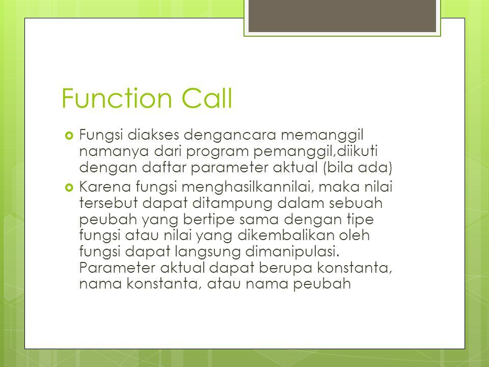 Function Call Fungsi diakses dengancara memanggil namanya dari program pemanggil,diikuti dengan daftar parameter aktual (bila ada)