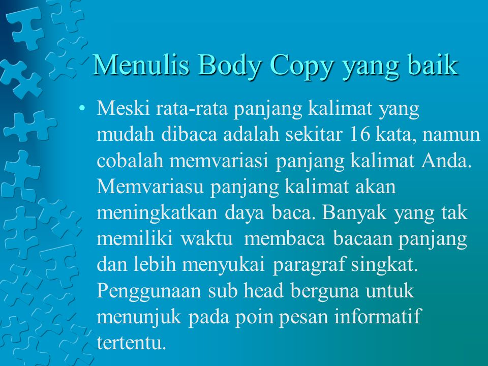 Menulis Body Copy yang baik