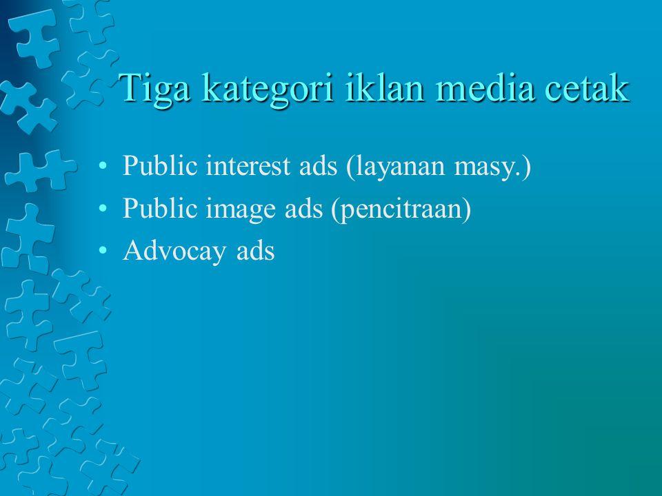 Tiga kategori iklan media cetak