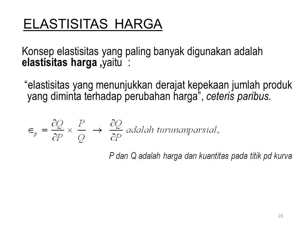 ELASTISITAS HARGA Konsep elastisitas yang paling banyak digunakan adalah elastisitas harga ,yaitu :