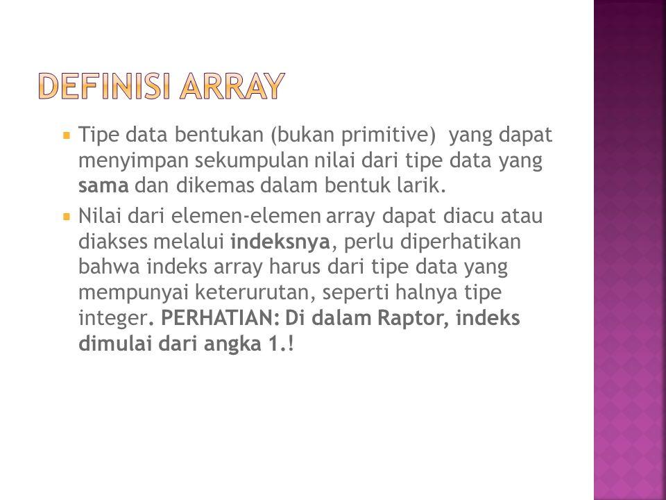 Definisi Array Tipe data bentukan (bukan primitive) yang dapat menyimpan sekumpulan nilai dari tipe data yang sama dan dikemas dalam bentuk larik.