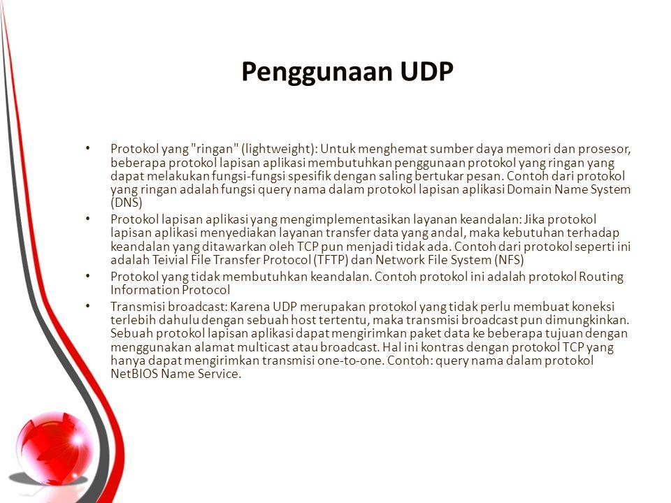 Penggunaan UDP