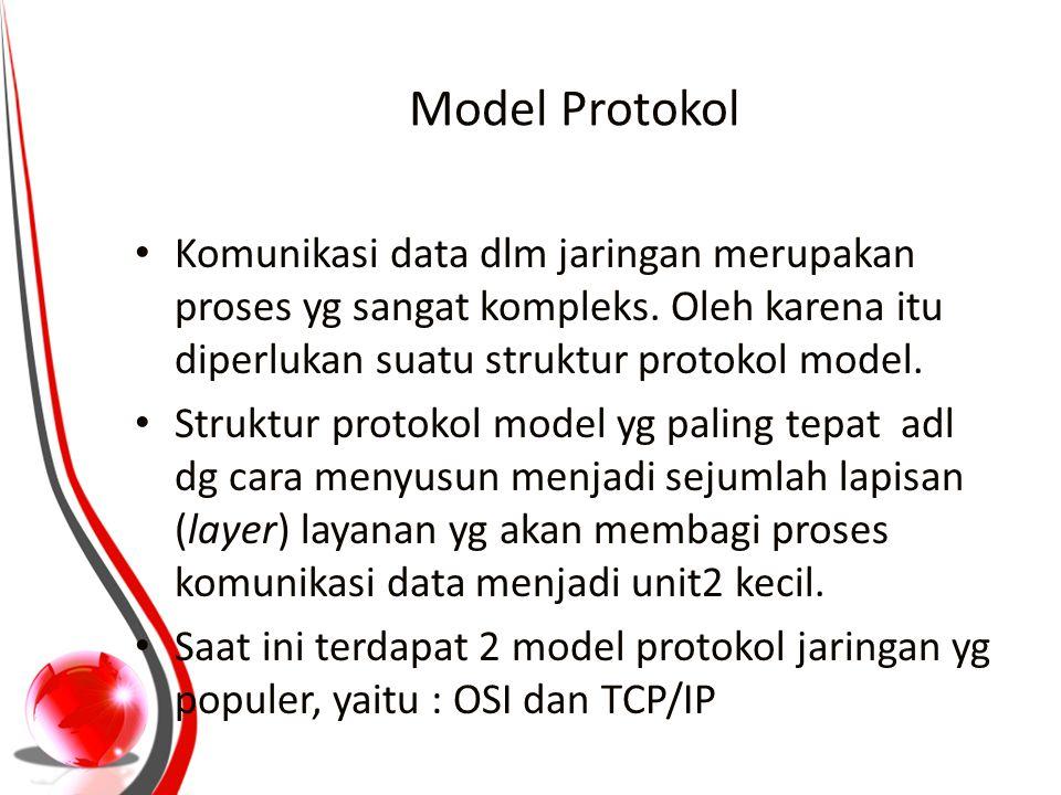 Model Protokol Komunikasi data dlm jaringan merupakan proses yg sangat kompleks. Oleh karena itu diperlukan suatu struktur protokol model.