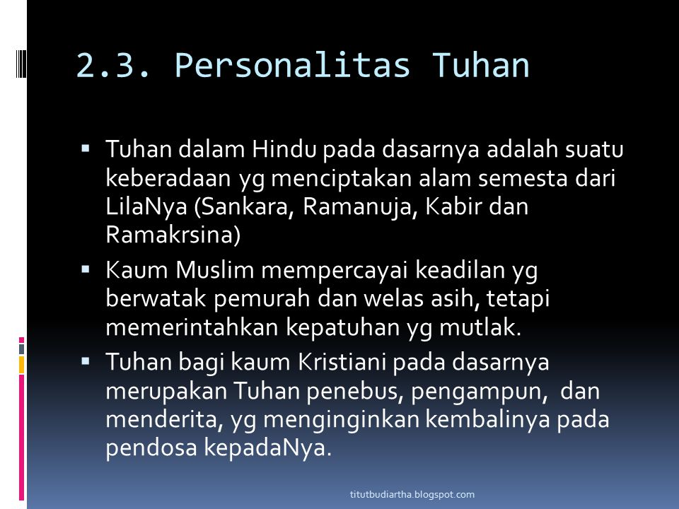 2.3. Personalitas Tuhan