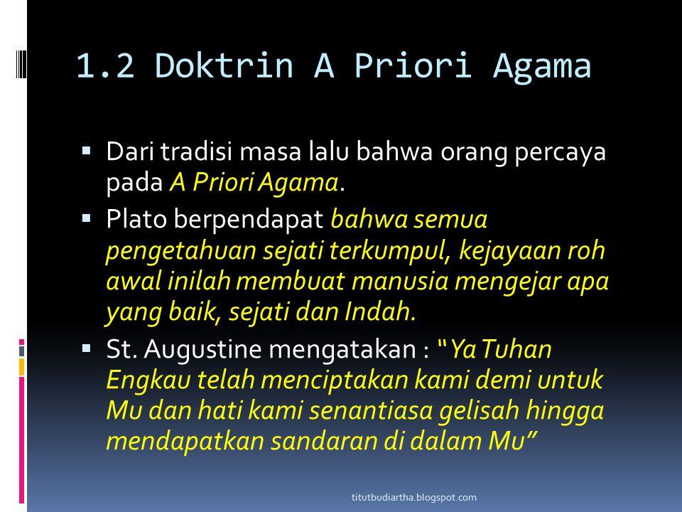 1.2 Doktrin A Priori Agama Dari tradisi masa lalu bahwa orang percaya pada A Priori Agama.