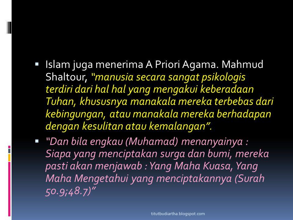 Islam juga menerima A Priori Agama