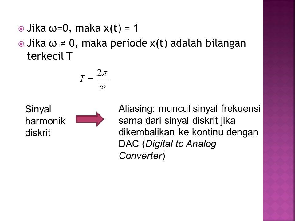 Jika ω ≠ 0, maka periode x(t) adalah bilangan terkecil T