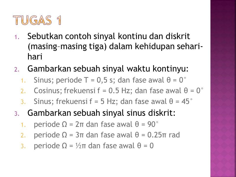 TUGAS 1 Sebutkan contoh sinyal kontinu dan diskrit (masing–masing tiga) dalam kehidupan sehari- hari.