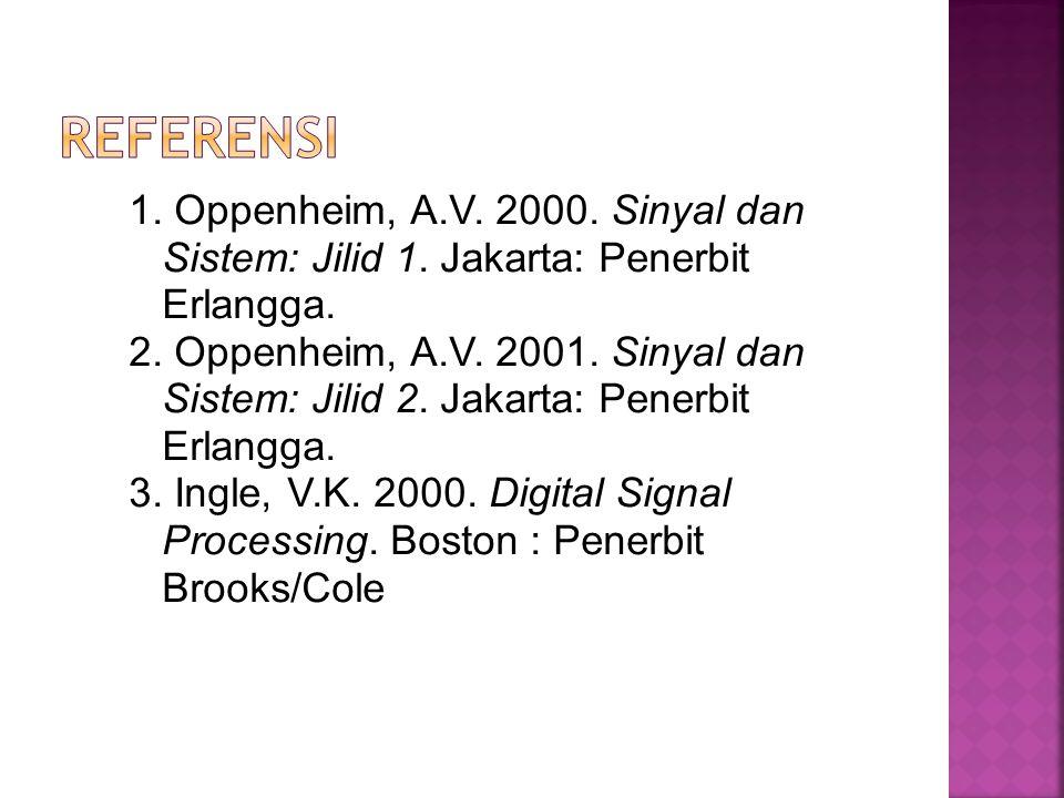 Referensi 1. Oppenheim, A.V. 2000. Sinyal dan Sistem: Jilid 1. Jakarta: Penerbit Erlangga.