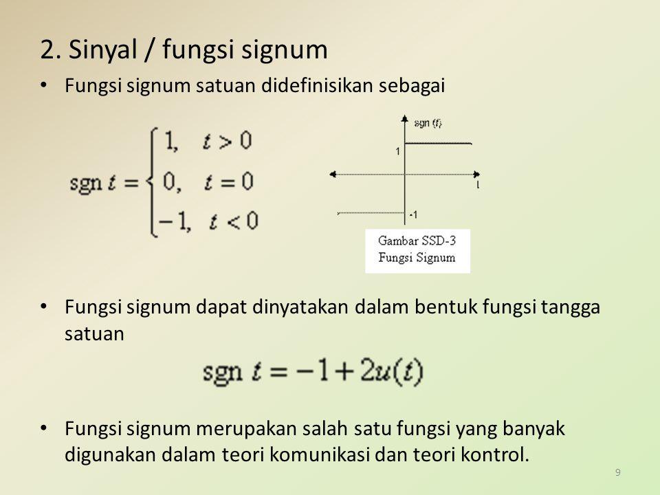 2. Sinyal / fungsi signum Fungsi signum satuan didefinisikan sebagai
