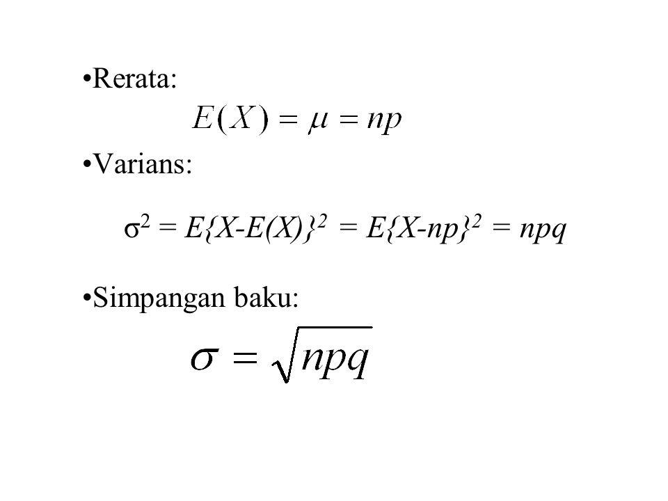 Rerata: Varians: σ2 = E{X-E(X)}2 = E{X-np}2 = npq Simpangan baku: