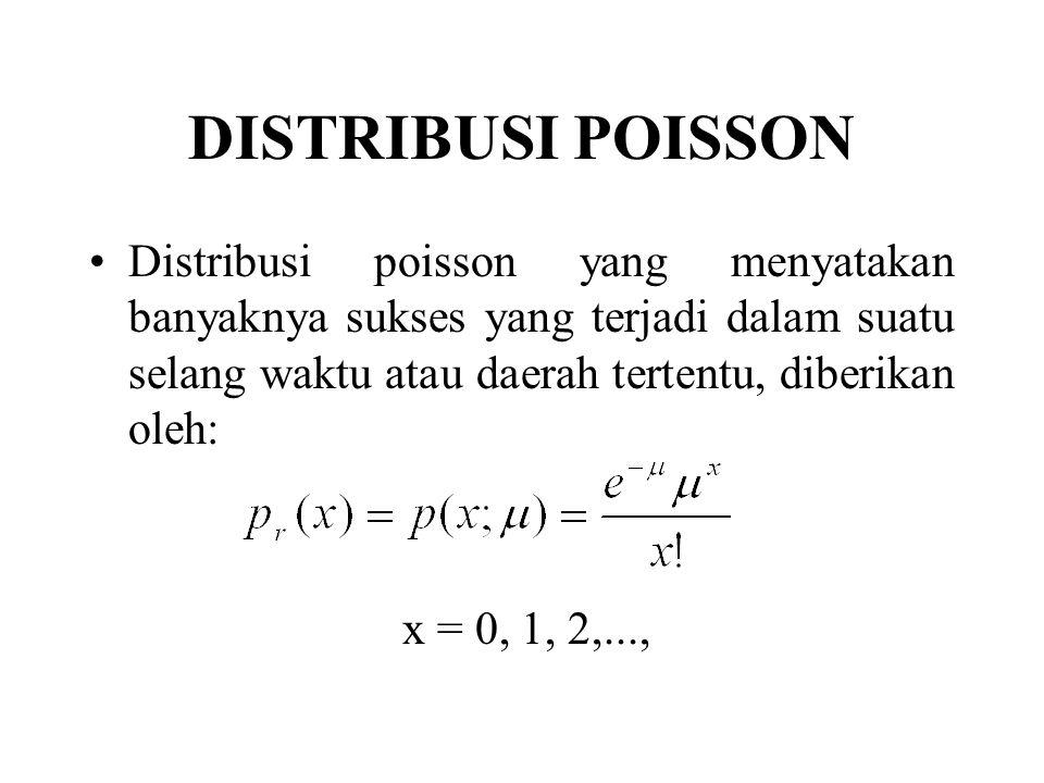 DISTRIBUSI POISSON Distribusi poisson yang menyatakan banyaknya sukses yang terjadi dalam suatu selang waktu atau daerah tertentu, diberikan oleh: