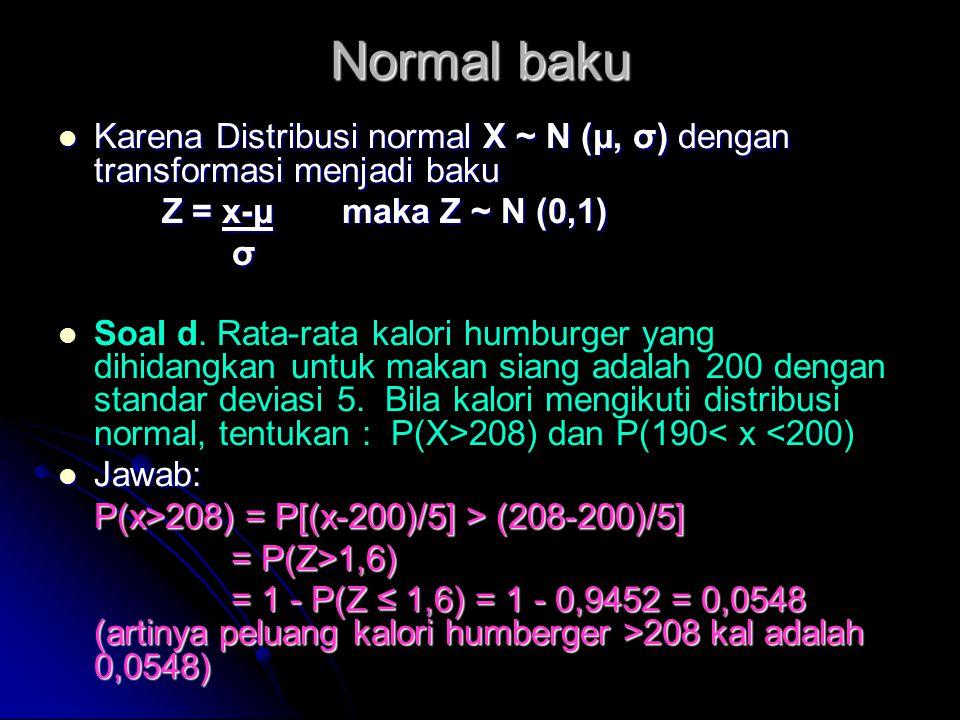 Normal baku Karena Distribusi normal X ~ N (μ, σ) dengan transformasi menjadi baku. Z = x-μ maka Z ~ N (0,1)