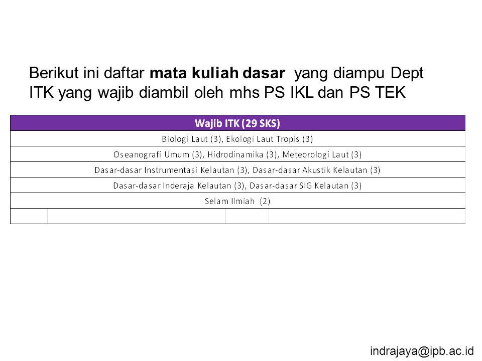 Berikut ini daftar mata kuliah dasar yang diampu Dept ITK yang wajib diambil oleh mhs PS IKL dan PS TEK