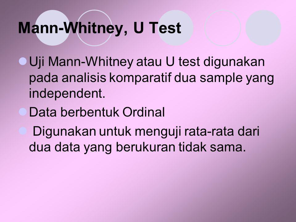 Mann-Whitney, U Test Uji Mann-Whitney atau U test digunakan pada analisis komparatif dua sample yang independent.