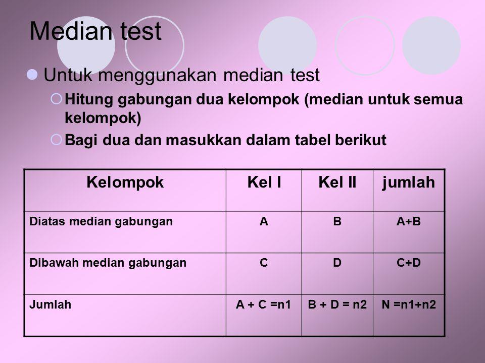 Median test Untuk menggunakan median test Kelompok Kel I Kel II jumlah