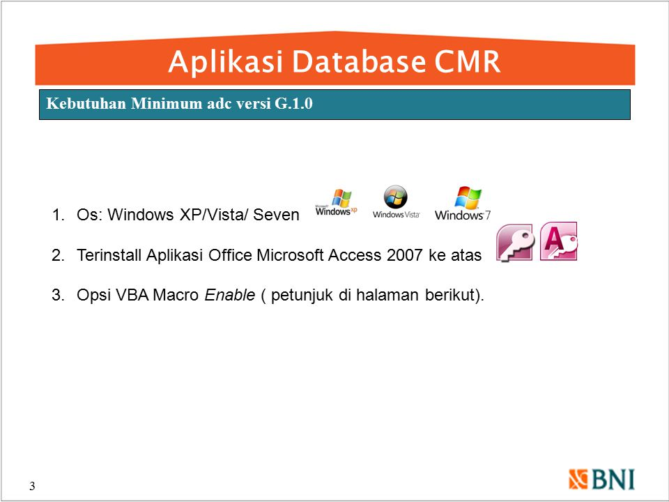 Aplikasi Database CMR Kebutuhan Minimum adc versi G.1.0