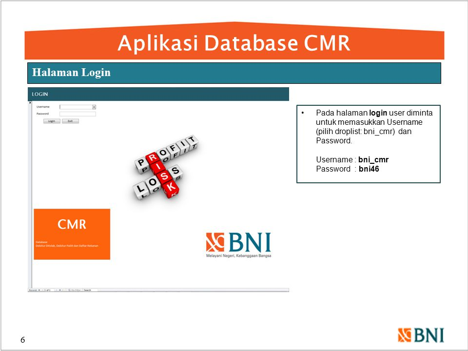 Aplikasi Database CMR Halaman Login