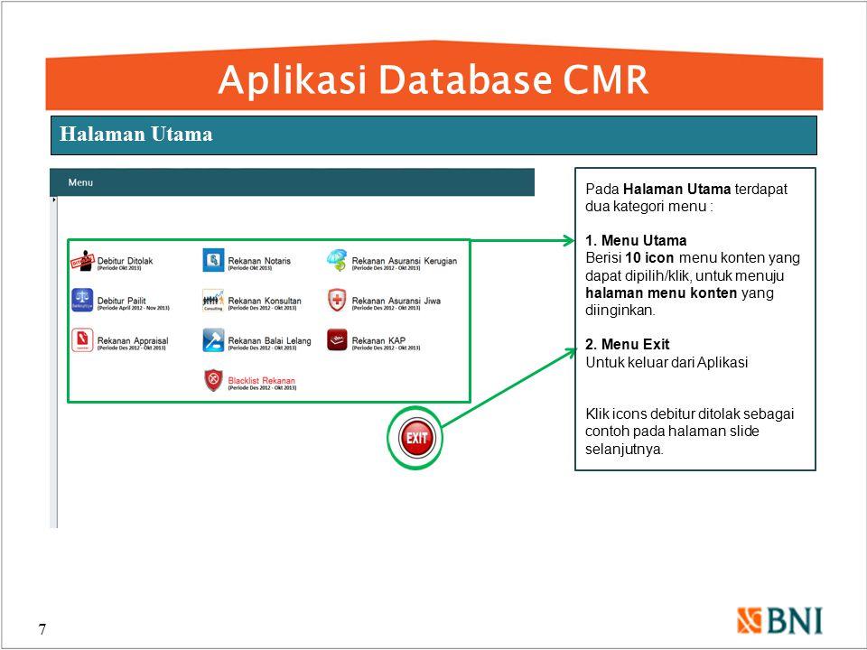 Aplikasi Database CMR Halaman Utama
