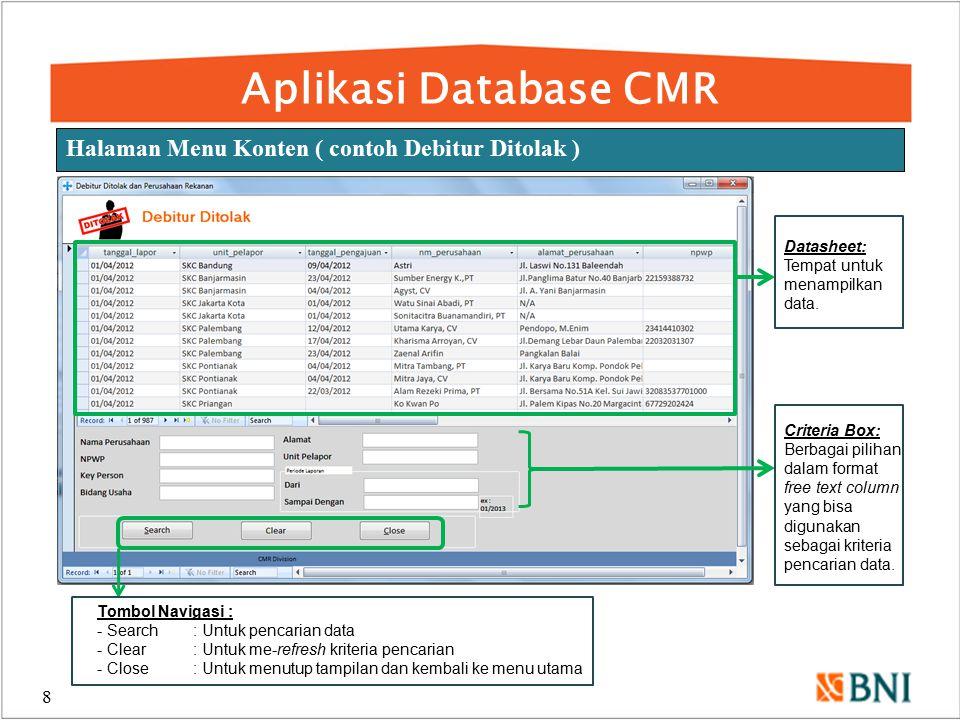 Aplikasi Database CMR Halaman Menu Konten ( contoh Debitur Ditolak )